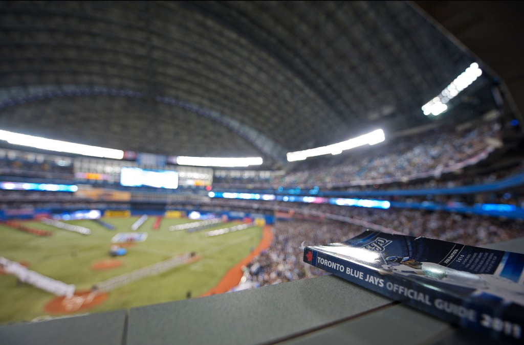 A view from the press box at the Rogers Centre in Toronto. 
