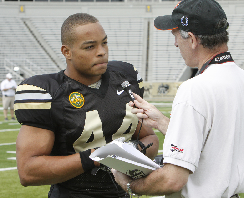 Army defensive end Joshua McNary is interviewed at the team's Media Day in 2010.