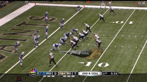 Still image from Colts-Saints game