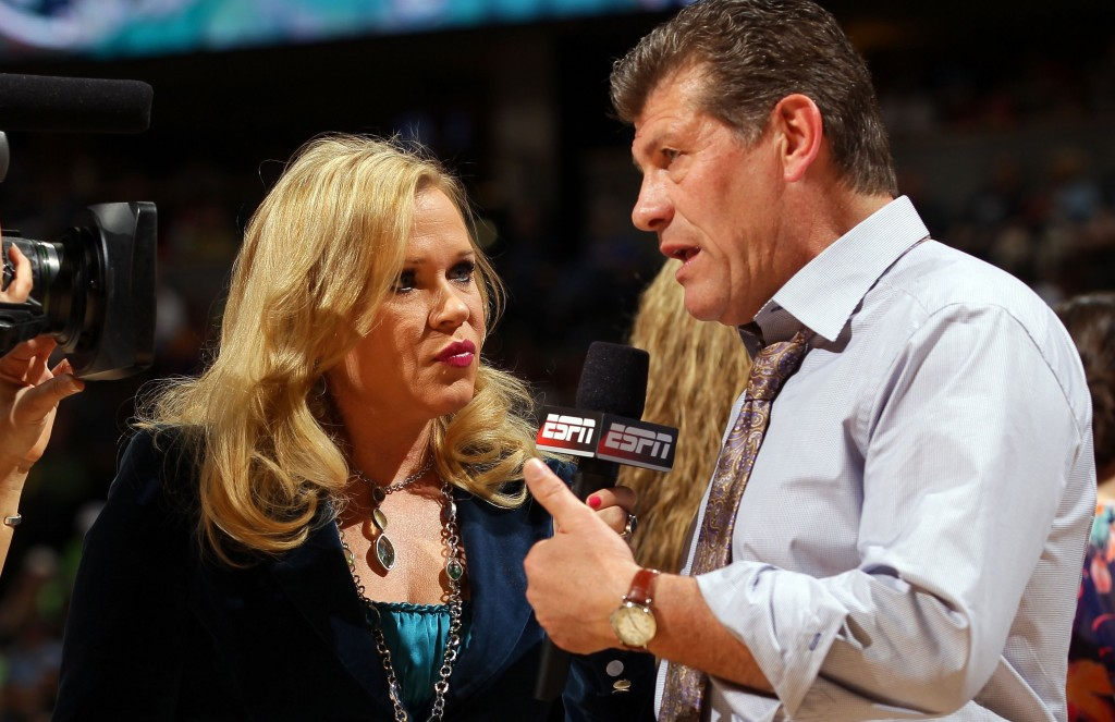 Holly Rowe interviews Geno Auriemma