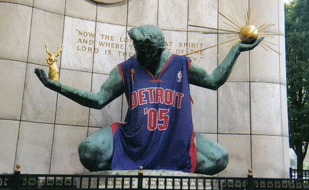 Spirit of Detroit with Pistons jersey