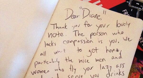 "Part of one of Elan Gale's notes to ""Diane."""