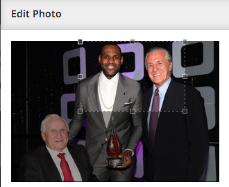 LeBron James and Pat Riley front and center.