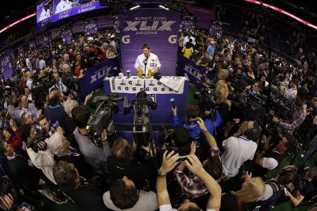 Tom Brady at Super Bowl Media Day, Jan. 27, 2015